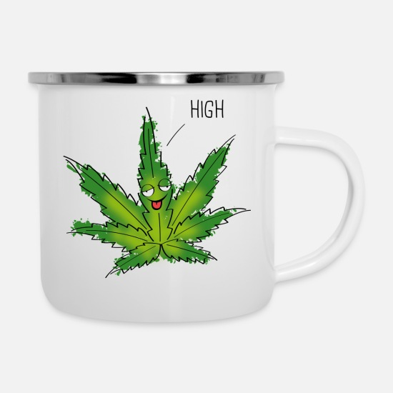 Gift Idea Mugs & Drinkware - Cannabis Cannabis Marijuana Weed High - Enamel Mug white