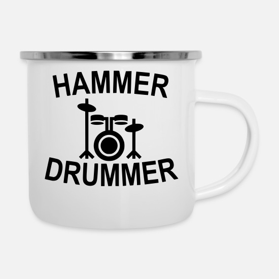 Sheet Metal Mugs & Drinkware - Hammer drummer - Enamel Mug white