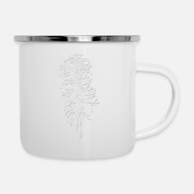 Ink Flower White by Mia Niemi - Enamel Mug