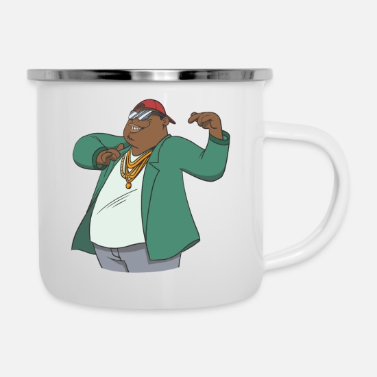 Gold Mugs & Drinkware - Gangster rapper with gold necklace. Gift idea - Enamel Mug white