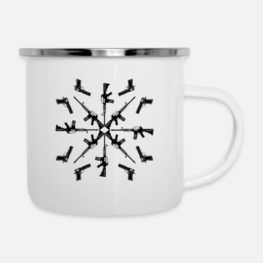 Machine Black Lake Bushcraft Machine Gun & Handgun Mandala - Enamel Mug
