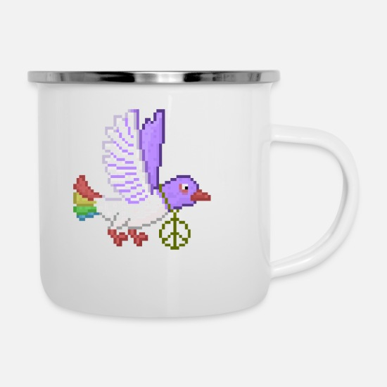 Pigeon Mugs & Drinkware - Dove hippie pacifist - Enamel Mug white