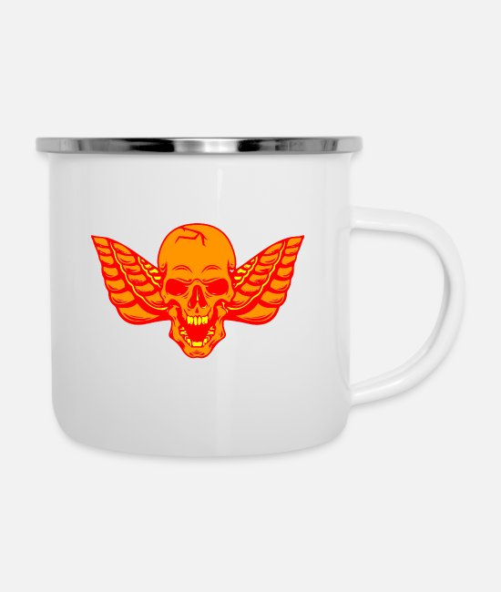Skull And Crossbones Mugs & Drinkware - Skull Shirt Skull Skull - Enamel Mug white