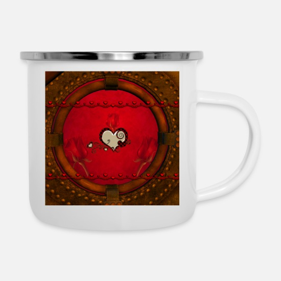 Love Mugs & Drinkware - Beautiful elegant hearts with roses - Enamel Mug white