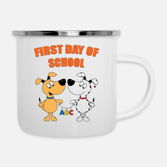 High School Graduate Mugs & Drinkware - Dogs - school enrollment - school - ABC - Enamel Mug white