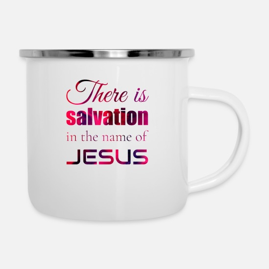 Jesus Tassen & Becher - Jesus is Lord, Saves, Christus, Bibel, Salvation - Emaille-Tasse Weiß