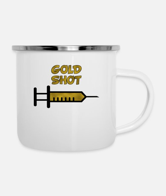 Gold Mugs & Drinkware - Gold shot - Enamel Mug white