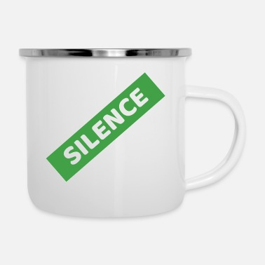 Silence by Iniy Myni White Border Diagonally - Enamel Mug