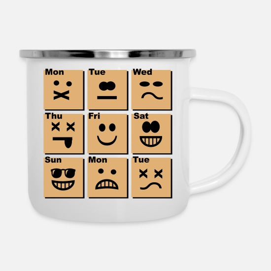 Office Life Mugs & Drinkware - everyday emoticons - Enamel Mug white
