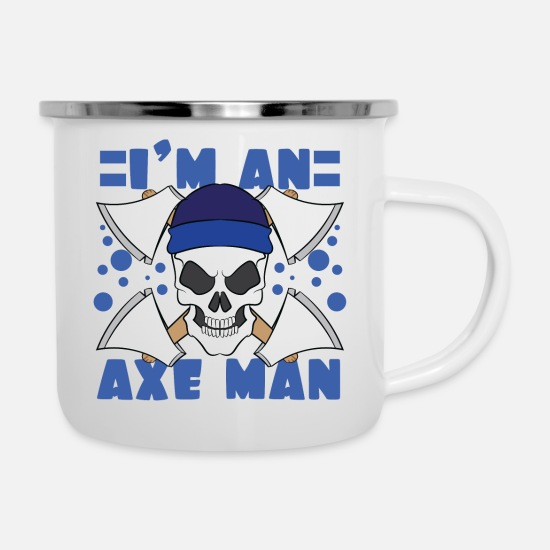 Forest Mugs & Drinkware - I'm An Axe Man Tshirt Design Skull Skeletal Bone - Enamel Mug white