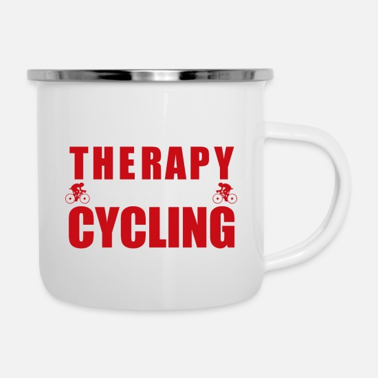 Love Mugs & Drinkware - I do not need Therapy I just need to go cycling - Enamel Mug white