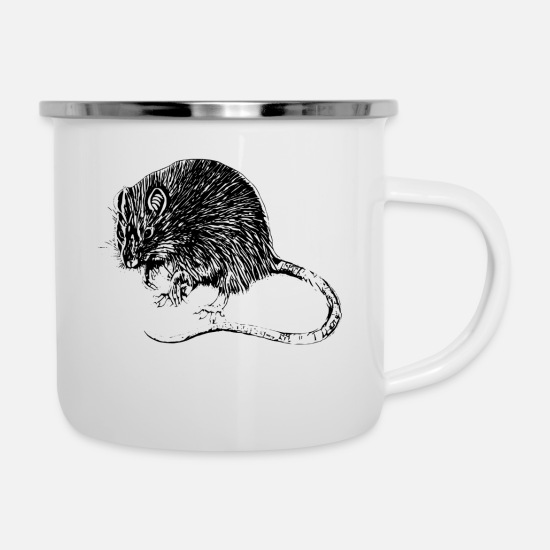 Pet Mugs & Drinkware - rat - Enamel Mug white