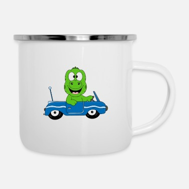 Lizard Funny gecko - lizard - car - convertible - fun - Enamel Mug