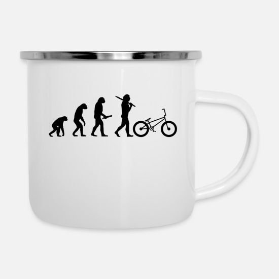 Birthday Mugs & Drinkware - Evolution evolution progress human BMX - Enamel Mug white