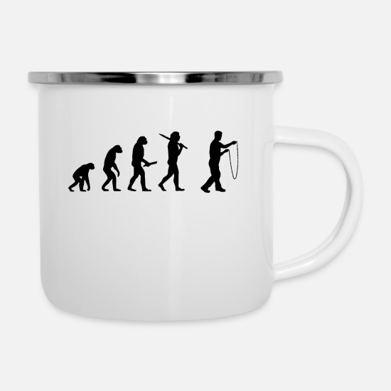 Birthday Mugs & Drinkware - skipping Evolution Evolution Development - Enamel Mug white
