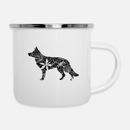 Shepherd Mugs & Drinkware - Flower GSD - Enamel Mug white