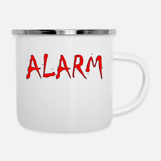 Gift Idea Mugs & Drinkware - ALARM Designed by BowieDesigns - Enamel Mug white