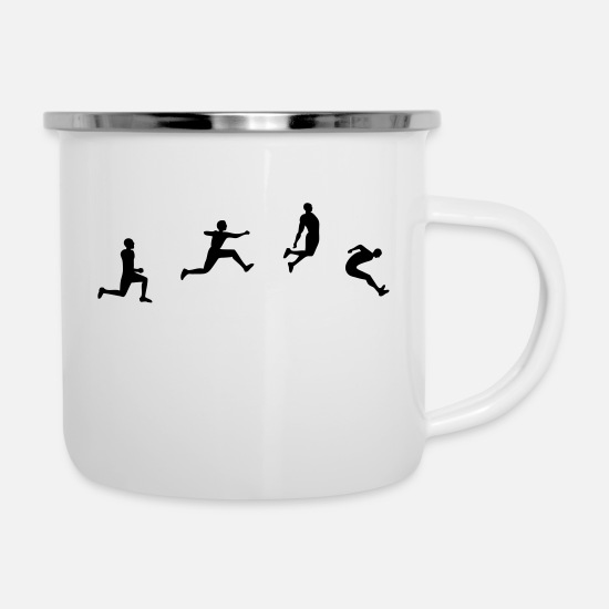 Jump Mugs & Drinkware - long jump - Enamel Mug white