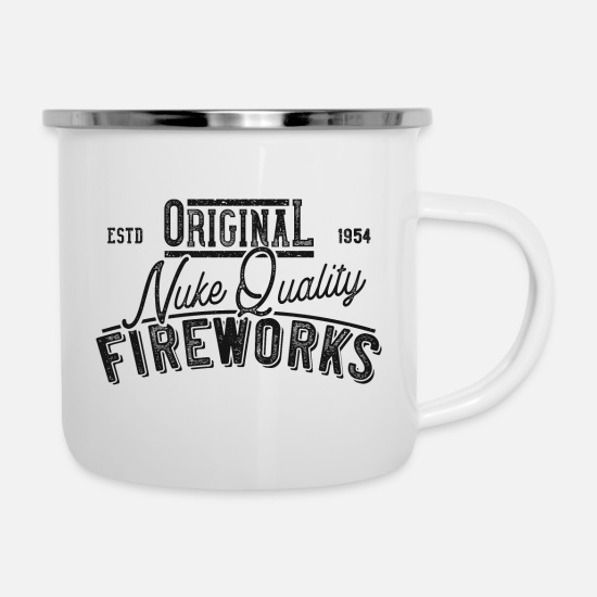 Pyro Mugs & Drinkware - fireworks 13 new years böller vuurwerk retro gamer - Enamel Mug white