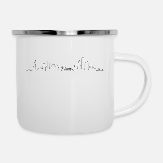 York Tassen & Becher - Skyline - New York City - Emaille-Tasse Weiß