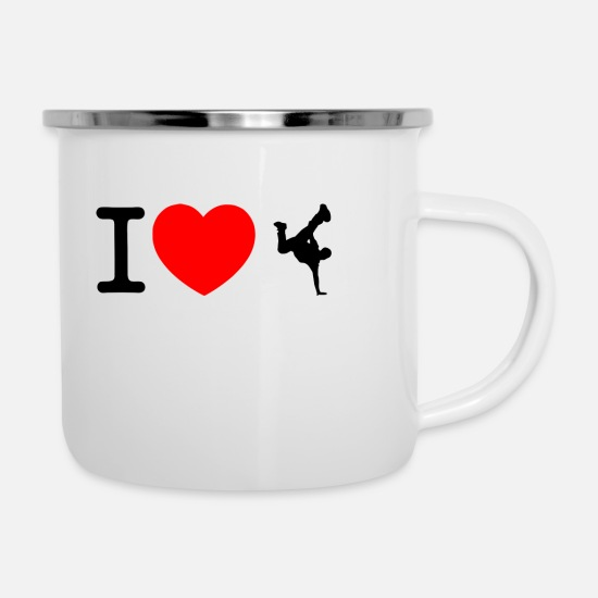 Heart Mugs & Drinkware - I love break dance - Enamel Mug white