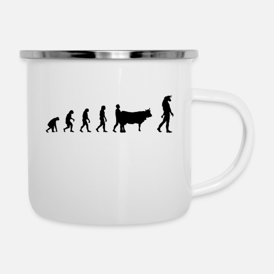Cow Mugs & Drinkware - Evolution Mythologie - Enamel Mug white