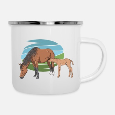 Mare Mare and Foal - Enamel Mug