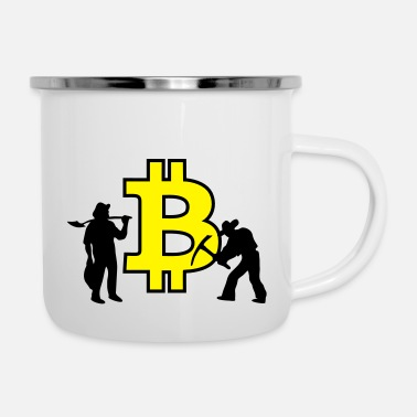 Gold Bitcoin Mining Banksy - Emaille-Tasse