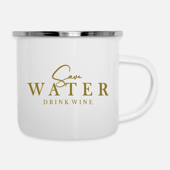 Alcohol Mugs & Drinkware - save water in metallic gold or silver - Enamel Mug white
