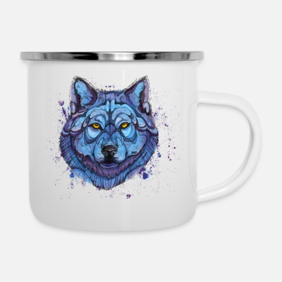 Animals Mugs & Drinkware - wolf - Enamel Mug white