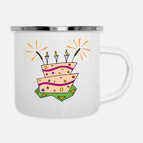 Birthday Mugs & Drinkware - Cute Birthday Cake - Enamel Mug white