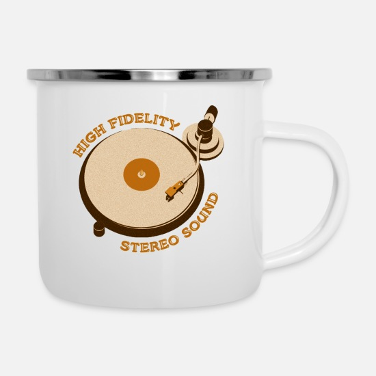 Vinyl Mugs & Drinkware - Turntable Vinyl Record DJ Retro Vintage - Enamel Mug white