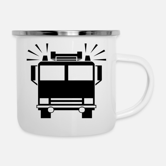 Fire Fighter Mugs & Drinkware - fire Department - Enamel Mug white