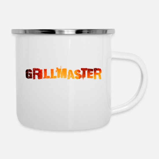 Bbq Mugs & Drinkware - GRILLMASTER - the professional - Enamel Mug white