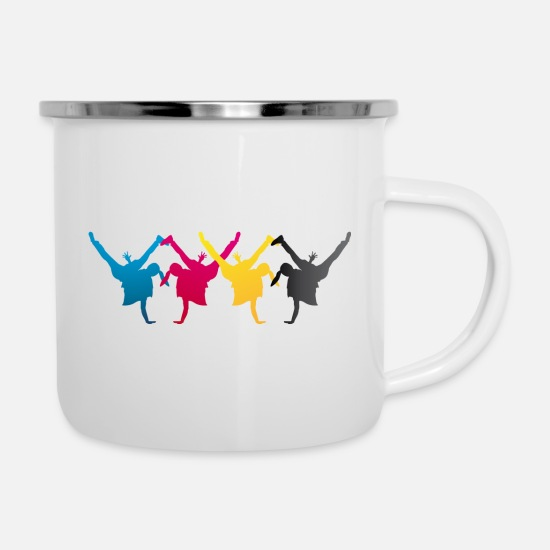 Conflict Mugs & Drinkware - Breakdance is BUNT and LOUD in CMYK - Enamel Mug white