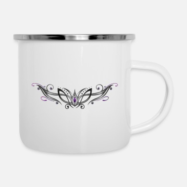 Filigree Tribal with gemstone, purple and black - Enamel Mug