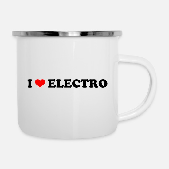 Love Mugs & Drinkware - I love electro for all fans of electro music - Enamel Mug white