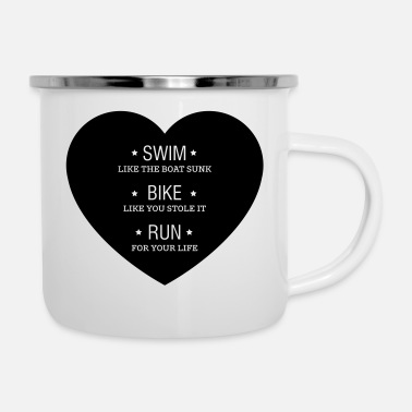Swim Bike Run Swim Bike Run - Enamel Mug