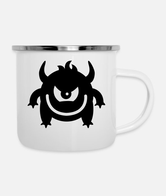 Eye Mugs & Drinkware - Evil monster - Enamel Mug white