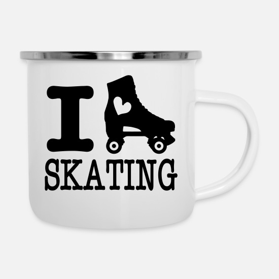 Skating Mugs & Drinkware - i love skating (with skate) - Enamel Mug white