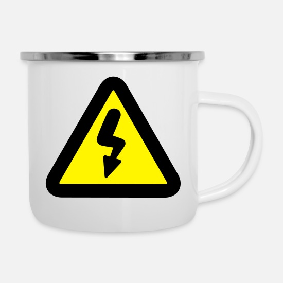 Parody Mugs & Drinkware - Electricity road sign - Enamel Mug white