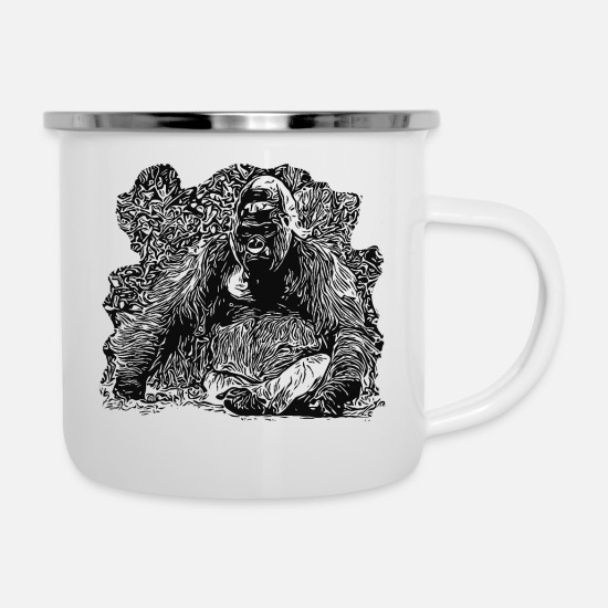 Gift Idea Mugs & Drinkware - Gorilla lord of the jungle - Enamel Mug white