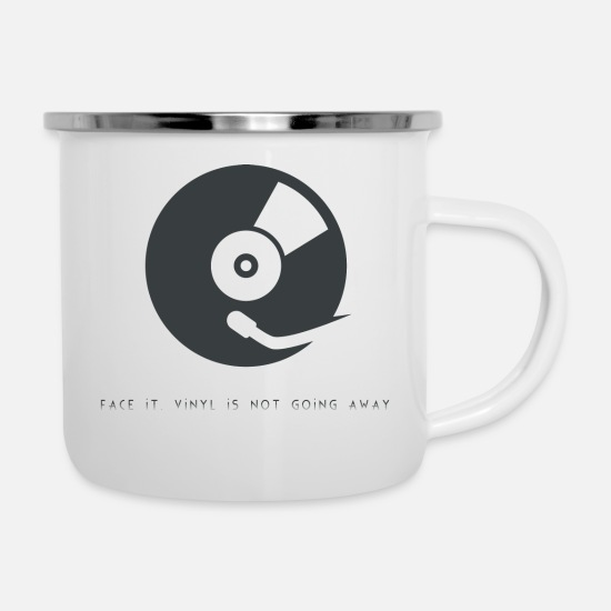 Vinyl Mugs & Drinkware - vinyl is not going away - Enamel Mug white