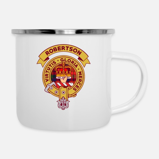 Tartan Mugs & Drinkware - Robertson Clan Badge - Enamel Mug white