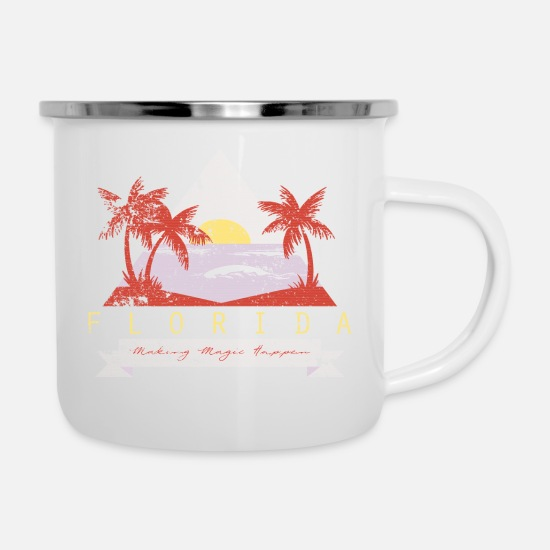 Miami Mugs & Drinkware - Miami Beach - Enamel Mug white