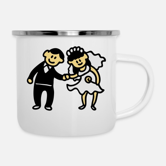 Bride Mugs & Drinkware - Wedding Couple - 3 - Enamel Mug white
