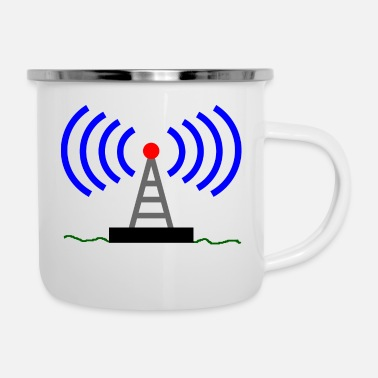 Radio Radio radio tower waves communication - Enamel Mug