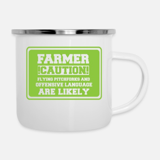 Farmer Mugs & Drinkware - Farmer / farmer / farmer: Farmer! Caution! Flying - Enamel Mug white