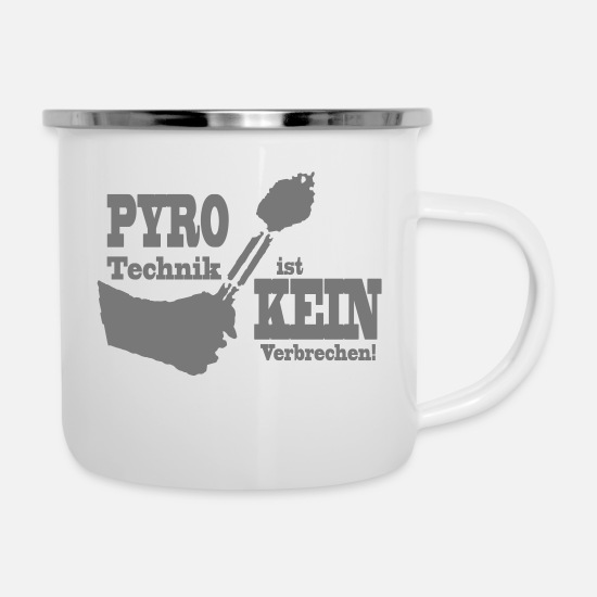 Pyro Mugs & Drinkware - Pyro - Technology is NOT a crime - Enamel Mug white
