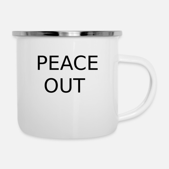 Peace Sign Mugs & Drinkware - PEACE - Enamel Mug white